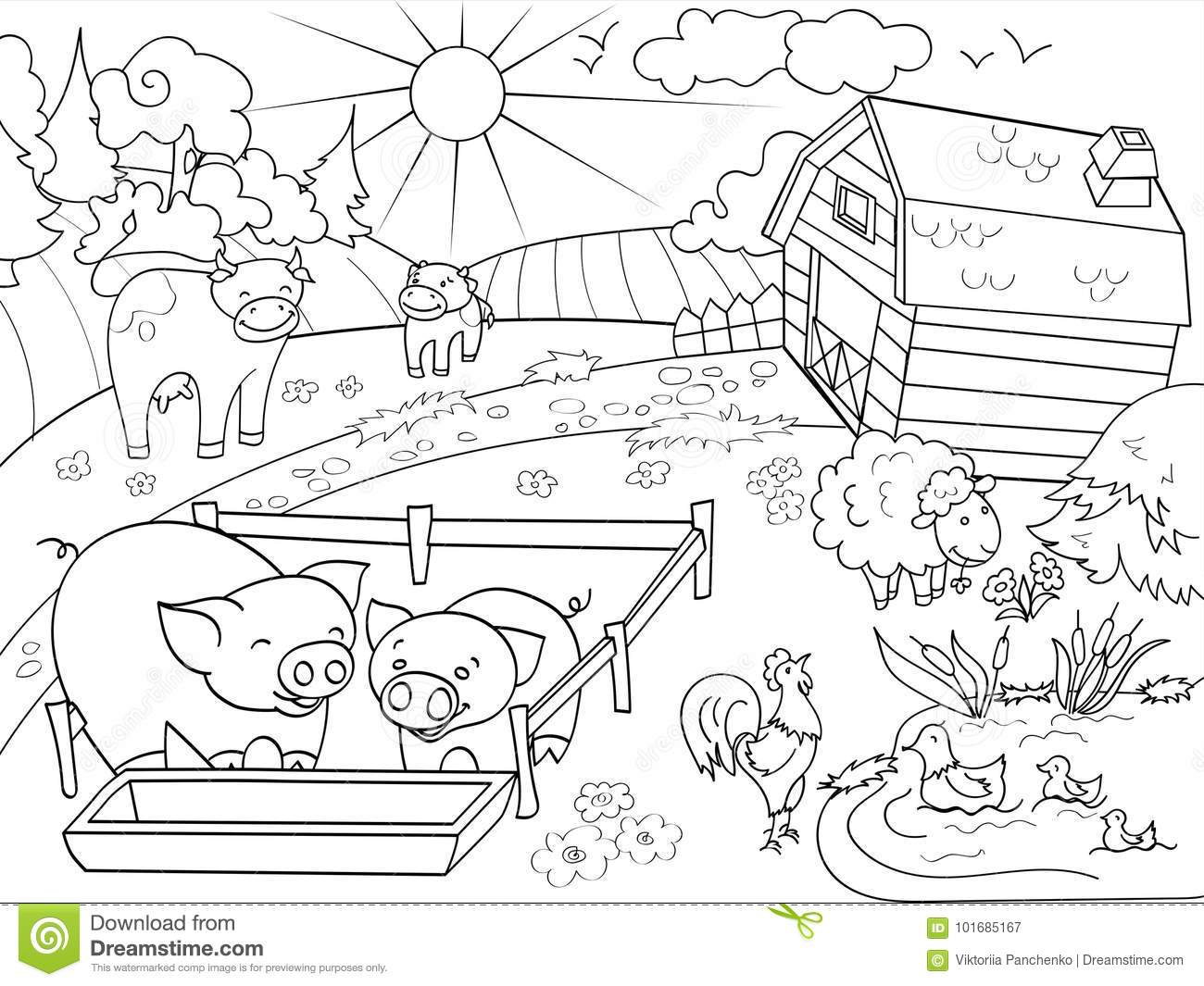 Farm Animals And Rural Landscape Coloring Raster For Adults Stock