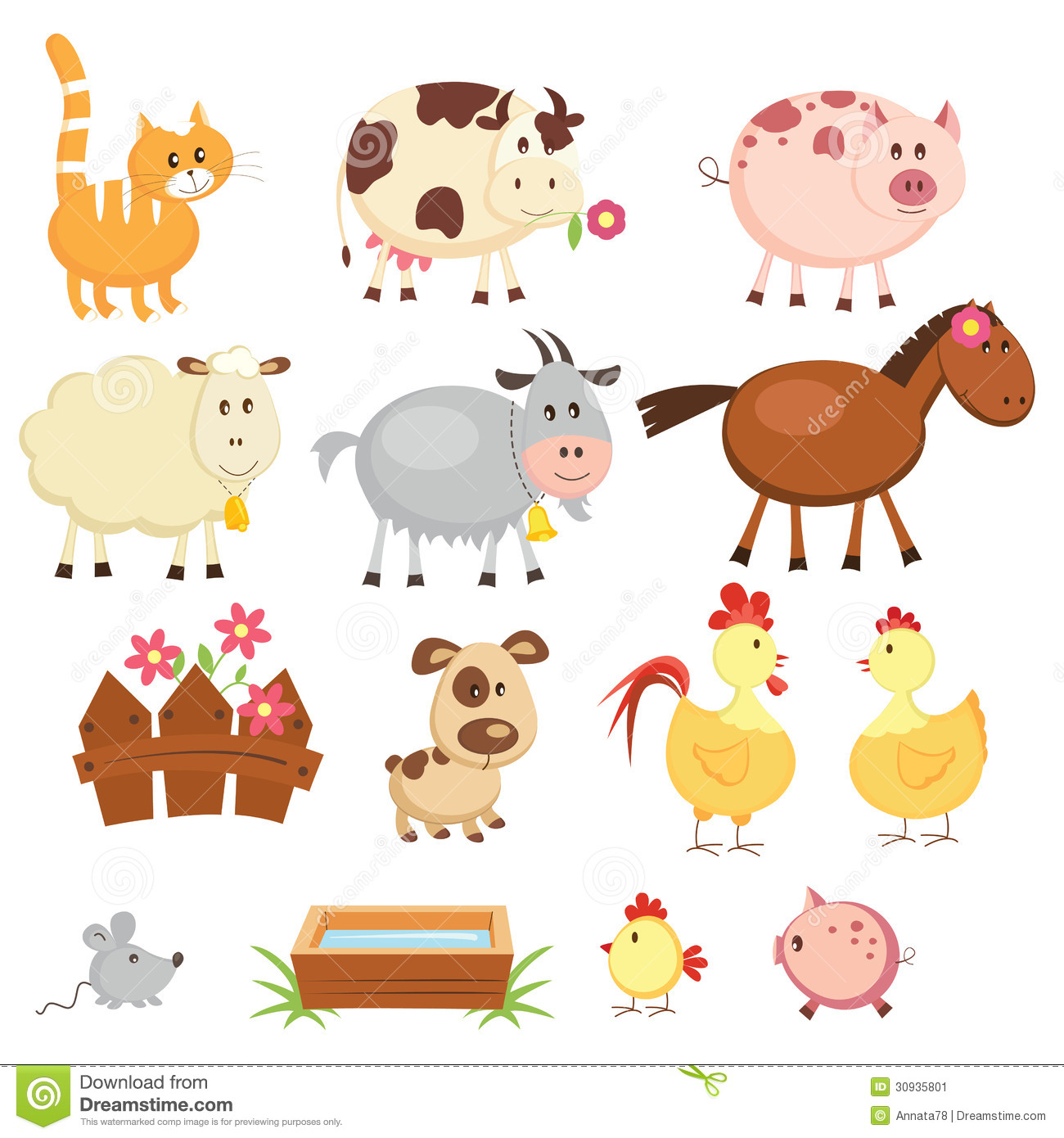 Farm animals stock vector. Image of icon, animal, colorful ...