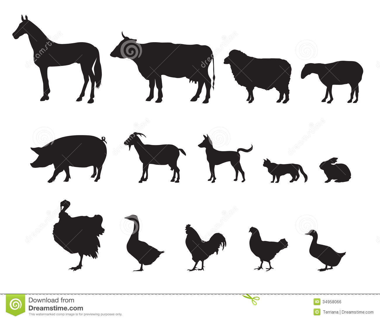 Farm Animals Set. Livestock. Stock Illustration