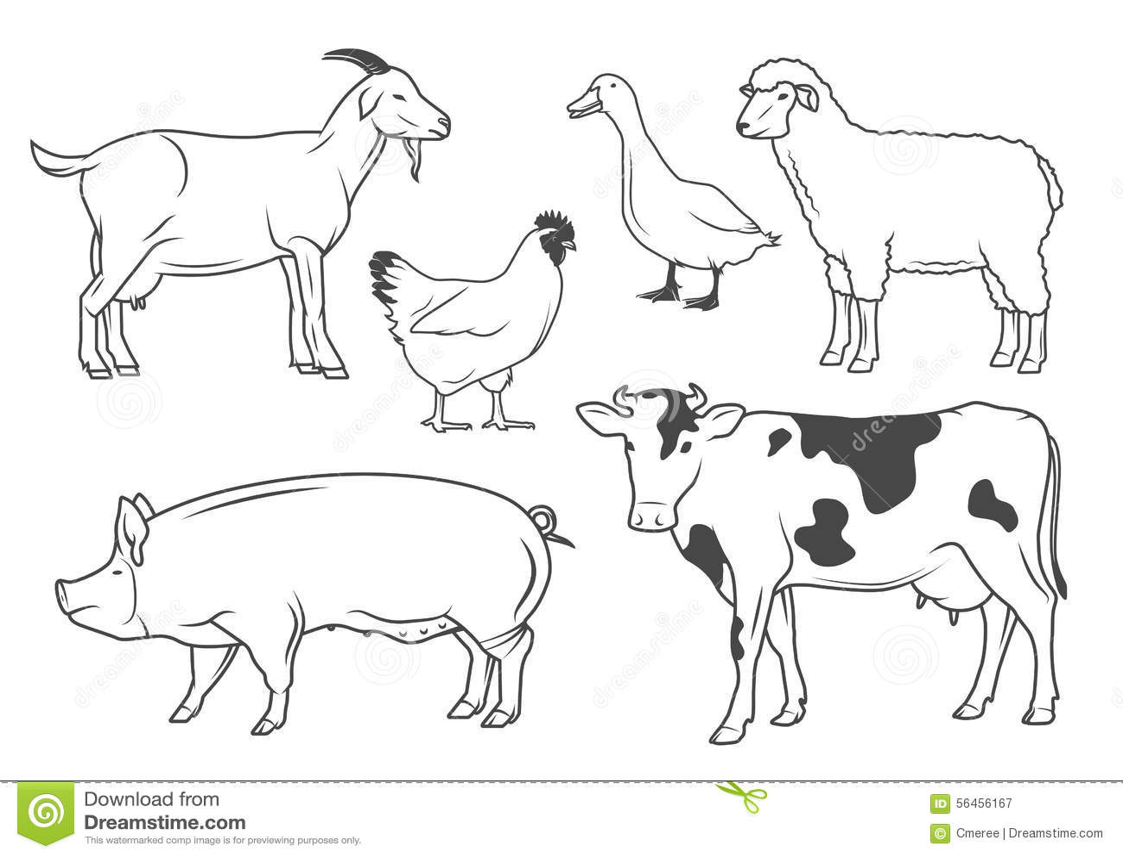 farm animals stock vector image 56456167