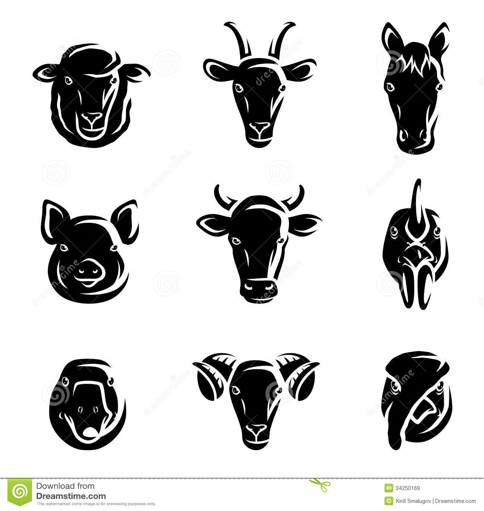 farm animals set vector stock vector illustration of feed 34250169