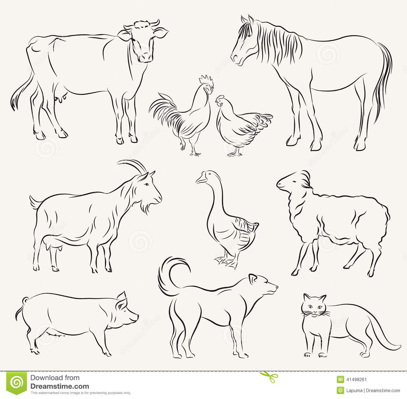 Farm animals. set of vector sketches on a white background.