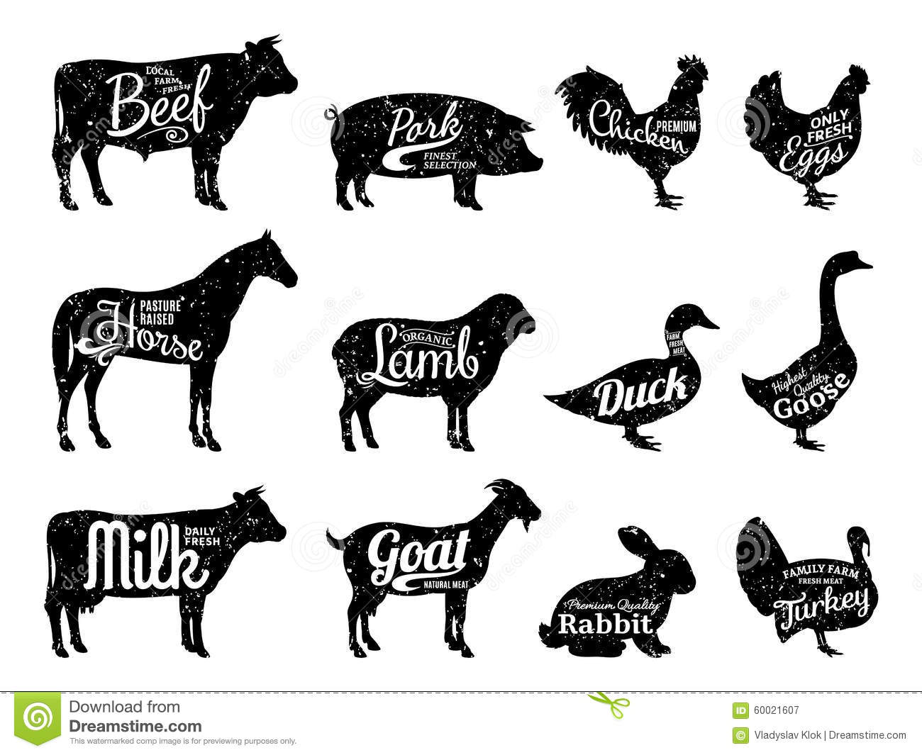 farm animals silhouettes collection butchery labels templates stock