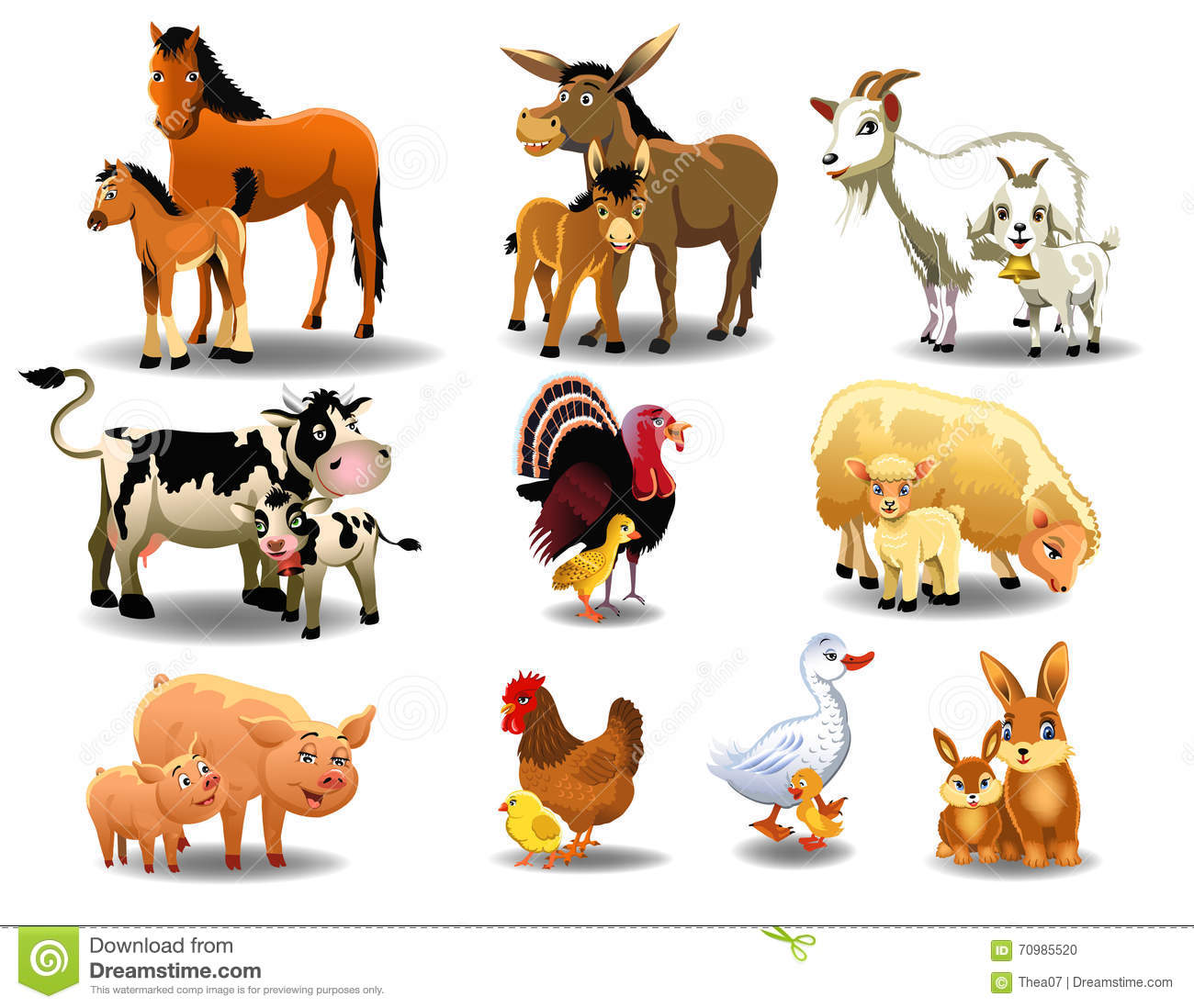 farm animals and their babies stock vector image 70985520 eating clip art football eating clip art free