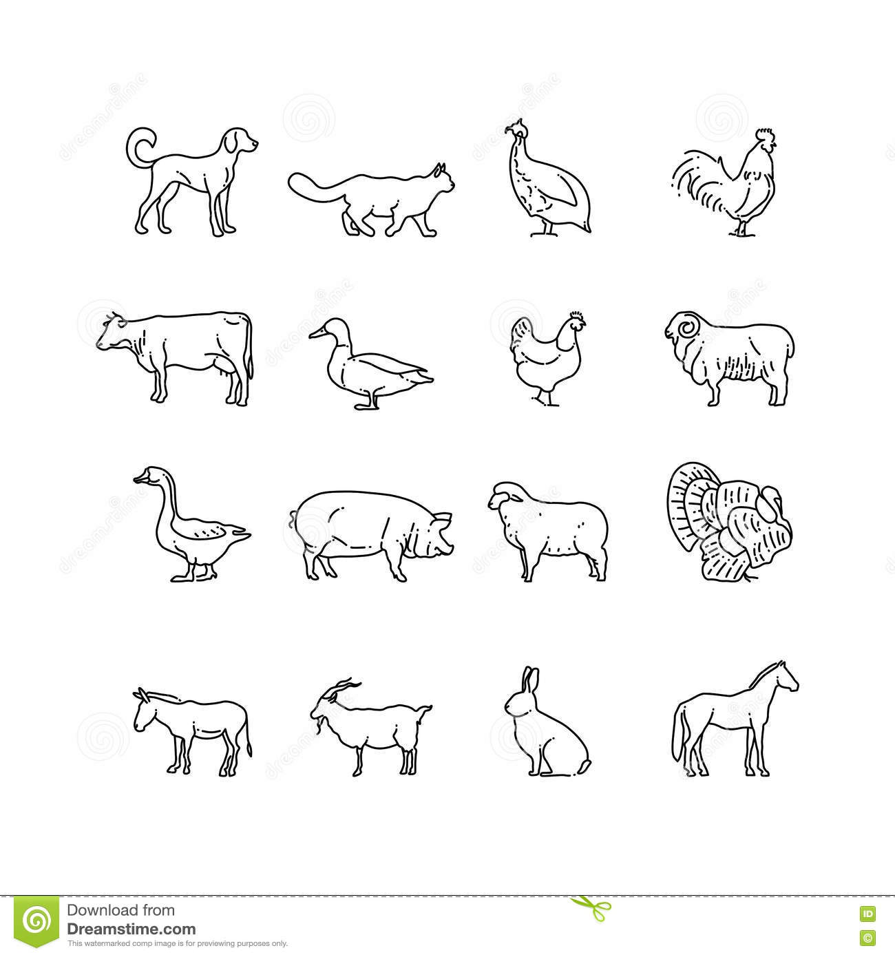 farm animals vector thin line icons set outline cow pig chicken