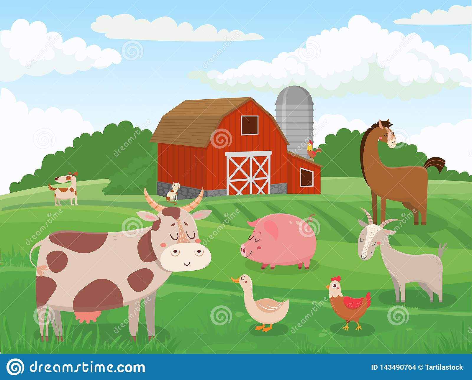 Farm Animals Village Animal Farms Cows Red Barn And Cattle