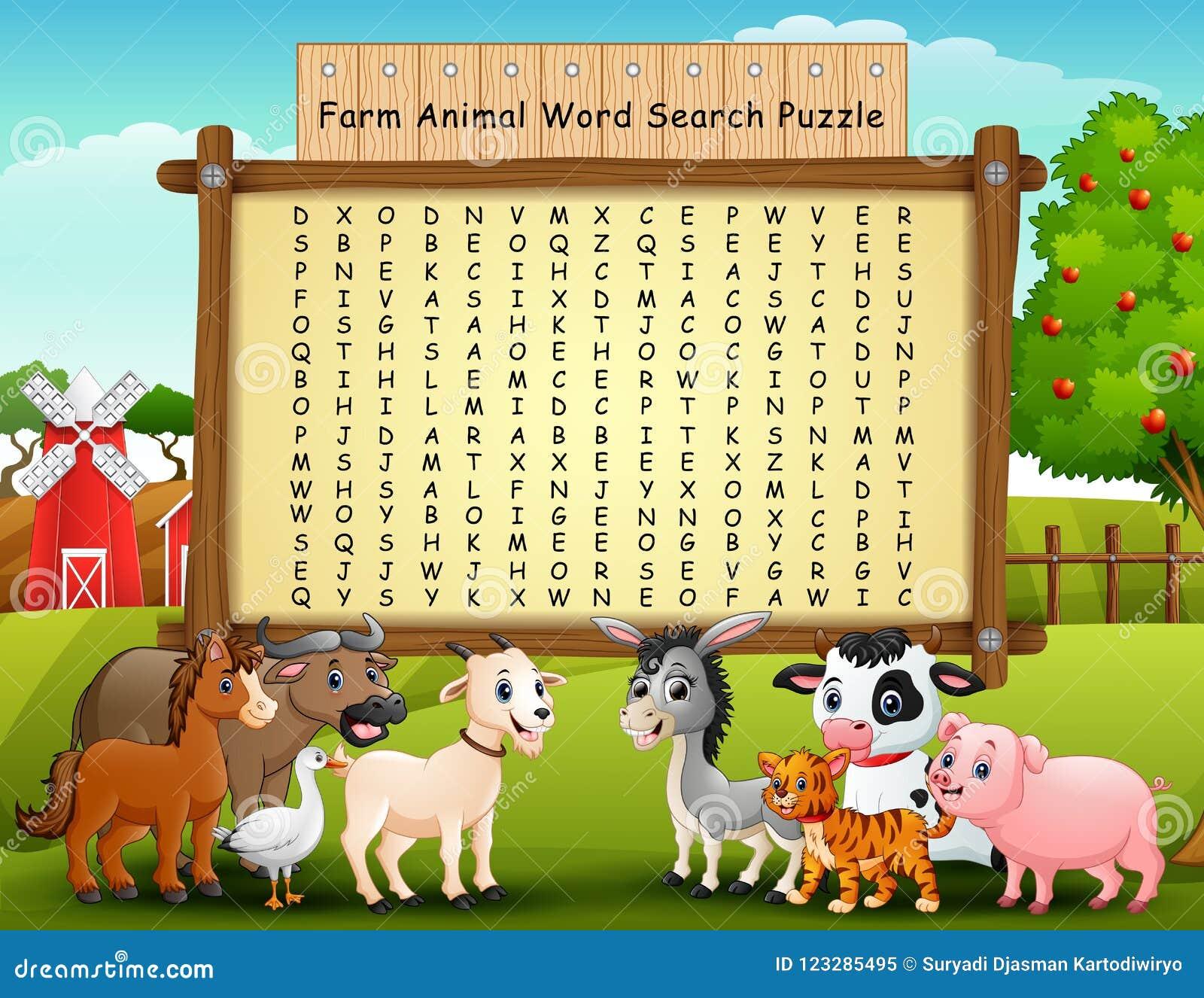 Farm Animals Word Search Puzzle Stock Vector