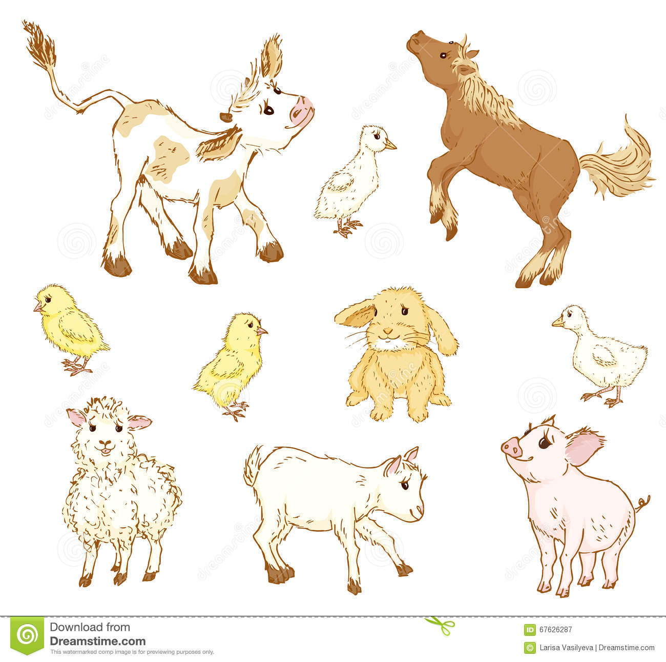 Farm baby animals  stock vector  Illustration of