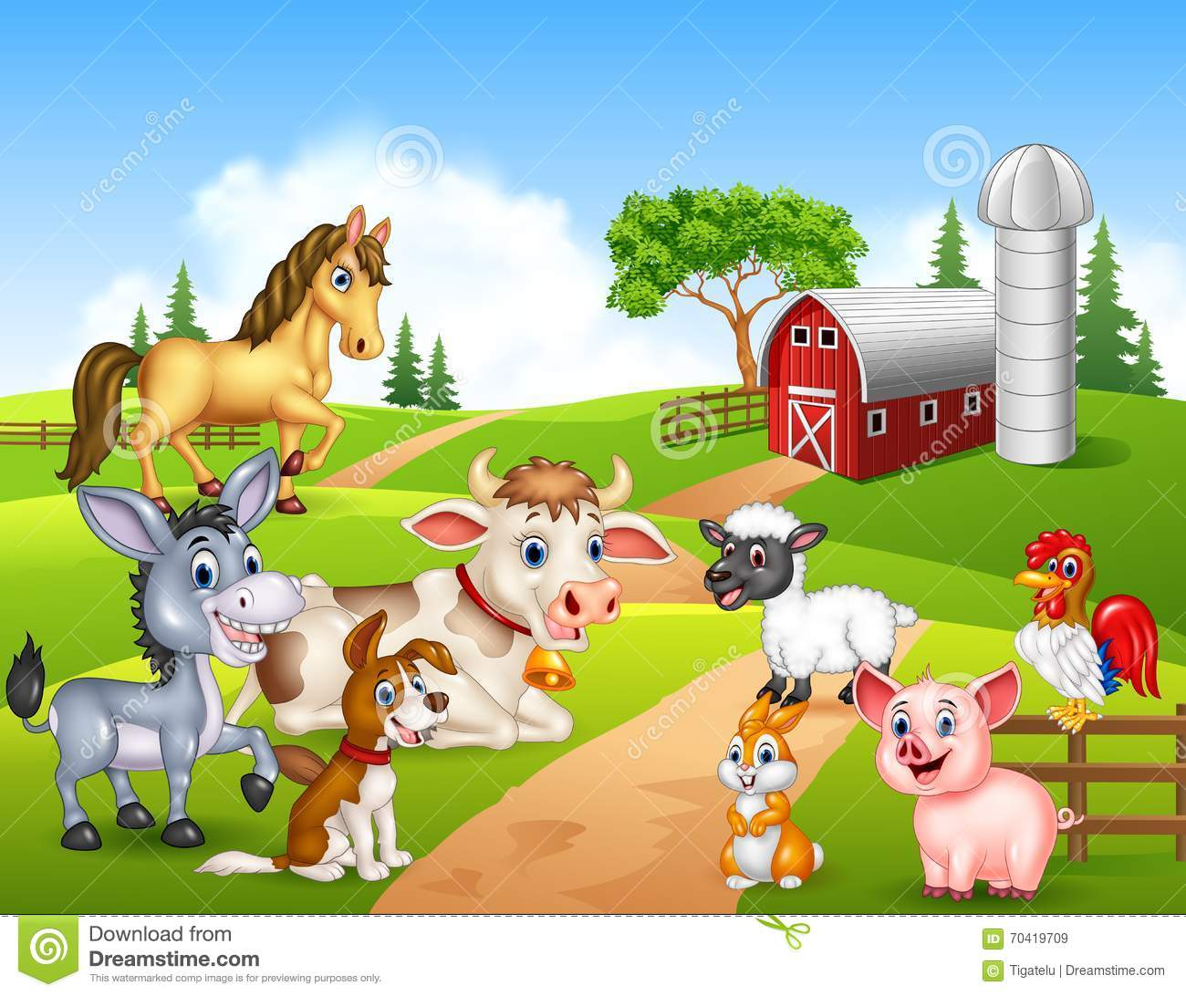 Farm Background With Happy Animals Stock Vector Image