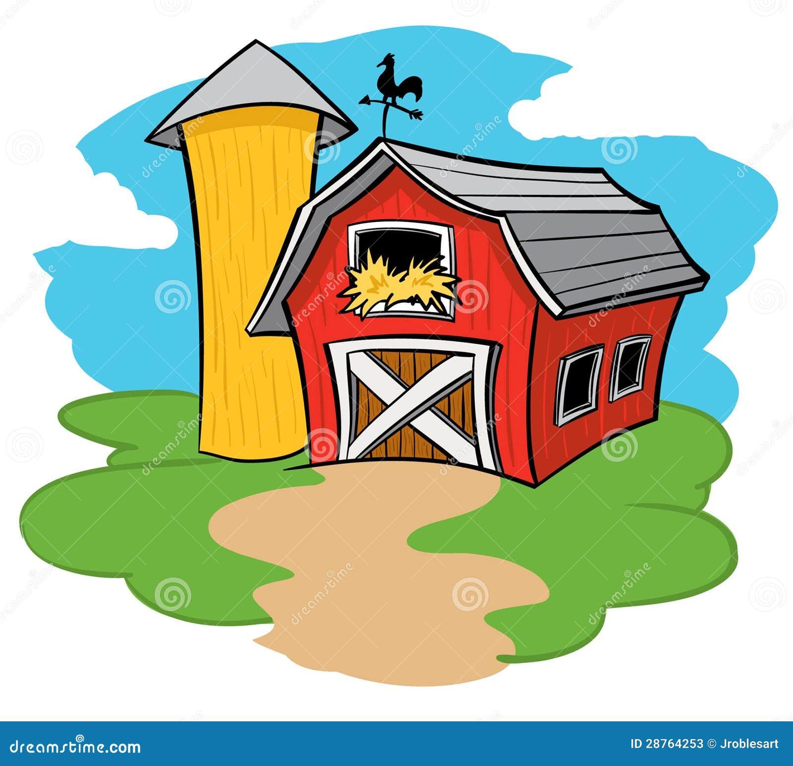 Barn and Silo on a farm with a sunny blue sky.