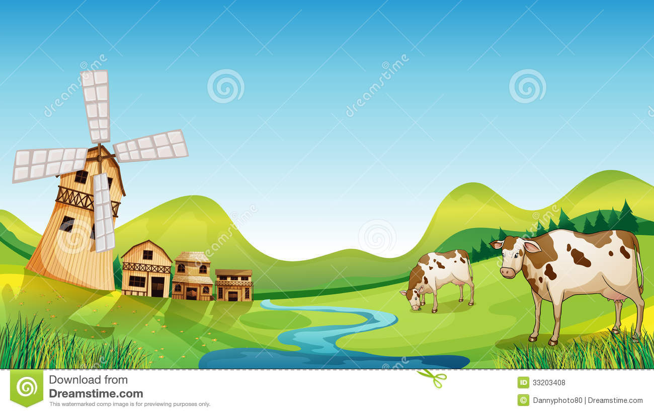 ... Farm With A Barn And Cows Royalty Free Stock Photos - Image: 33203408