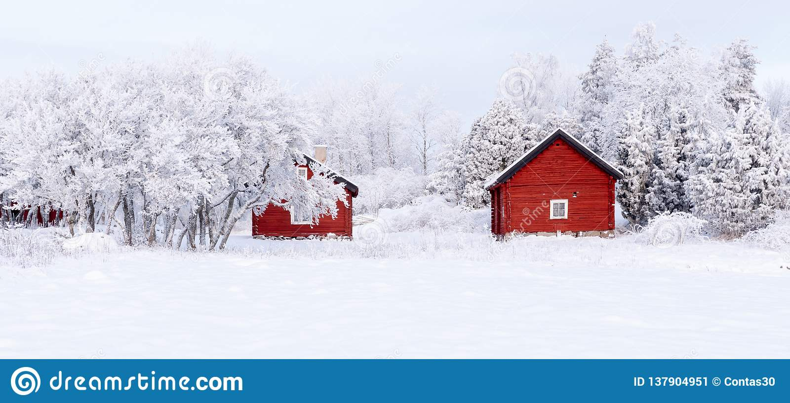 Farm Barn And House Surrounded By Frosty Trees Stock Image ...