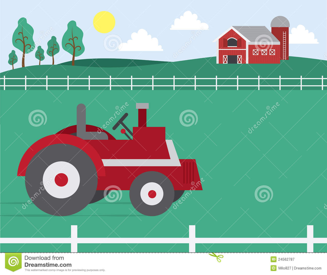 farm with barn and tractor stock vector illustration of fence