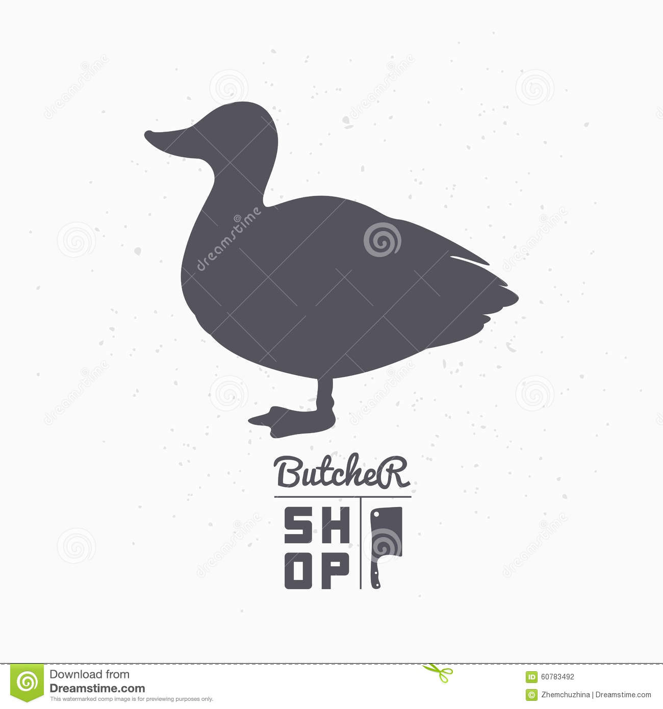 Farm Bird Silhouette. Duck Meat. Butcher Shop Stock Vector ...