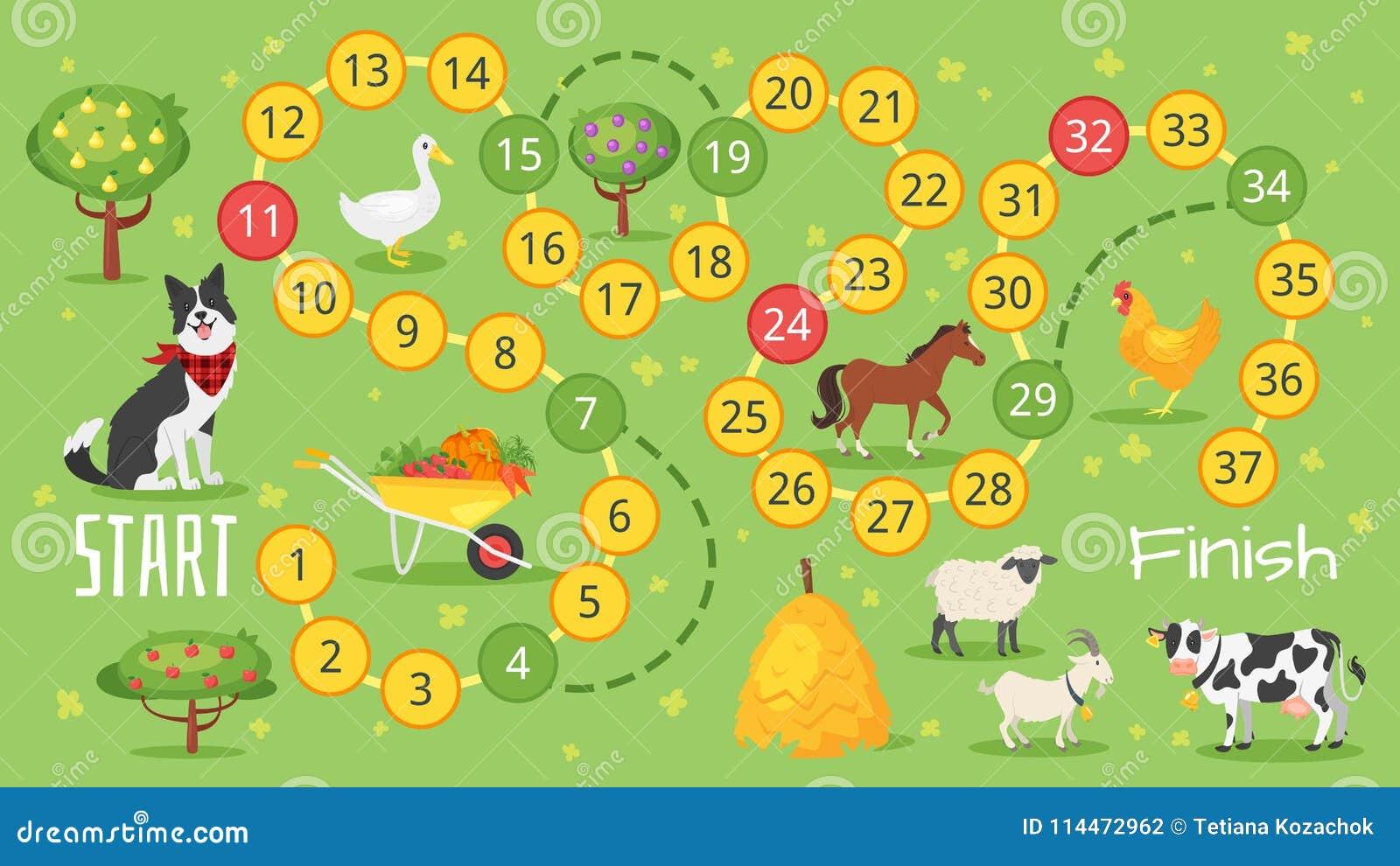 Board Game Template | Farm Board Game Template Stock Vector Illustration Of Children