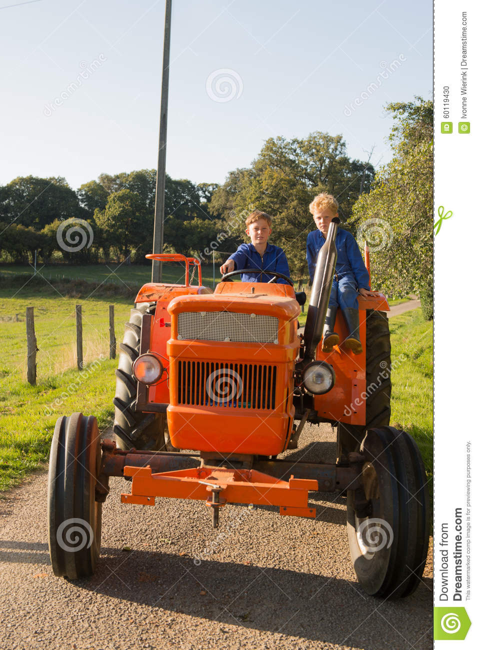 Farm Boys With Tractor Stock Photo - Image: 60119430