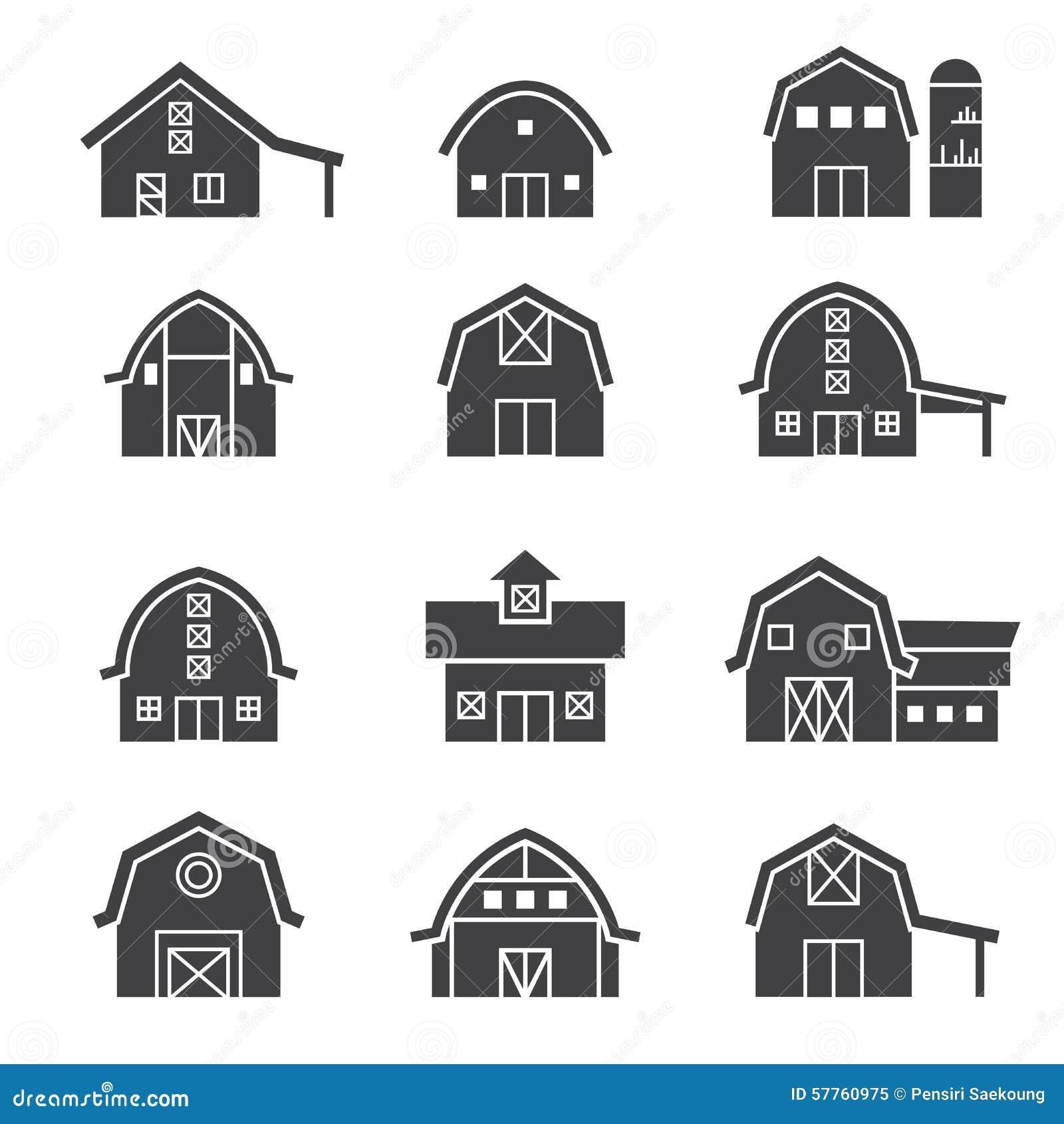 Farm Building Icon Set Stock Vector Image 57760975