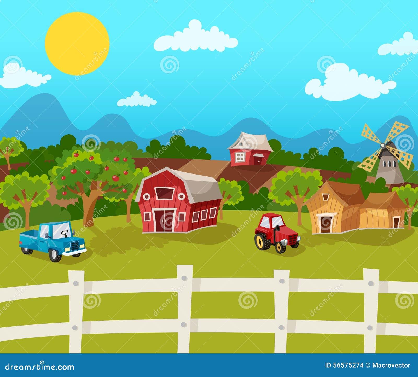Farm Cartoon Background With Apple Garden In Rural Landscape Vector