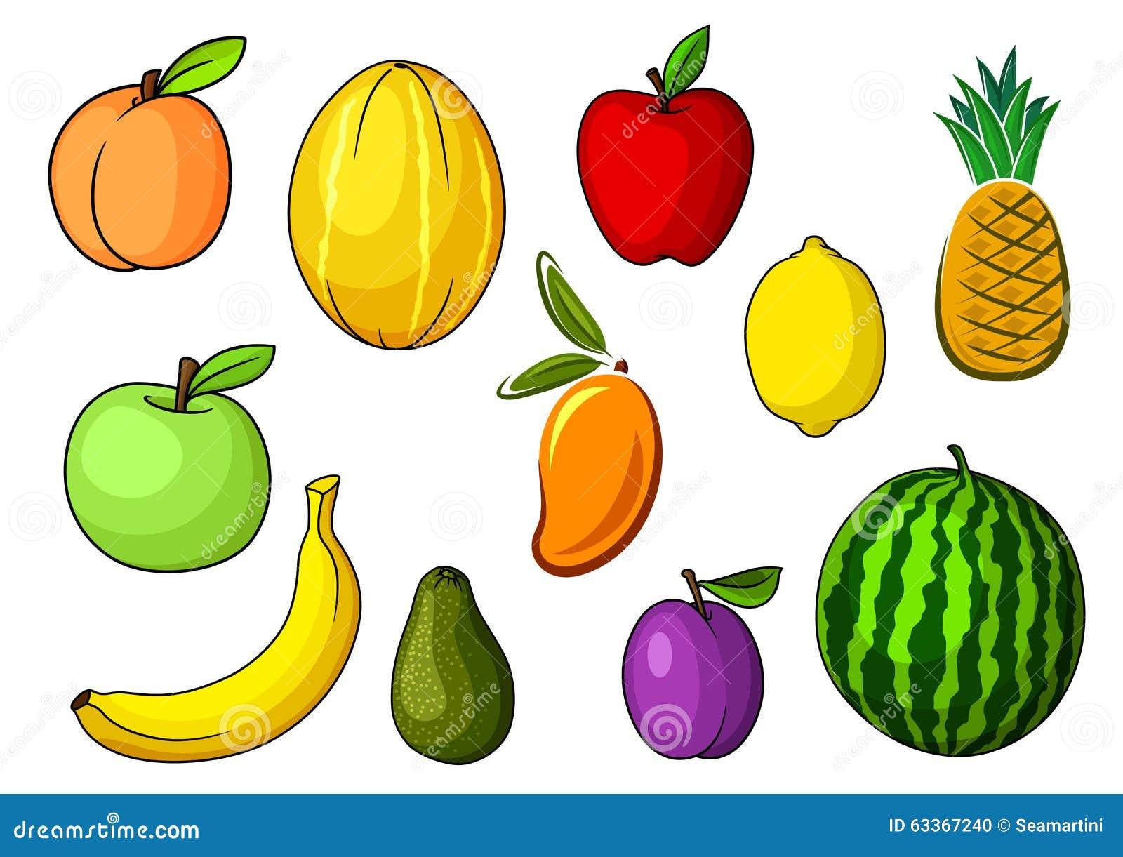 Imagenes Animadas De Arboles De Mango: Farm Colorful Sweet Fruits In Cartoon Style Stock Vector