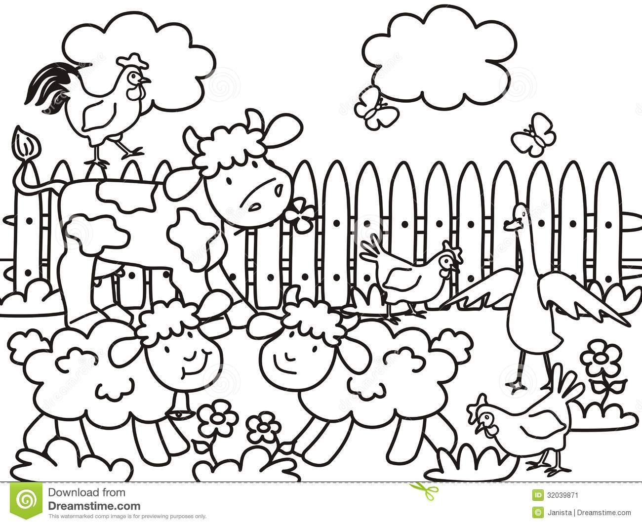 Farm Coloring Stock Vector Illustration Of Fowl Country