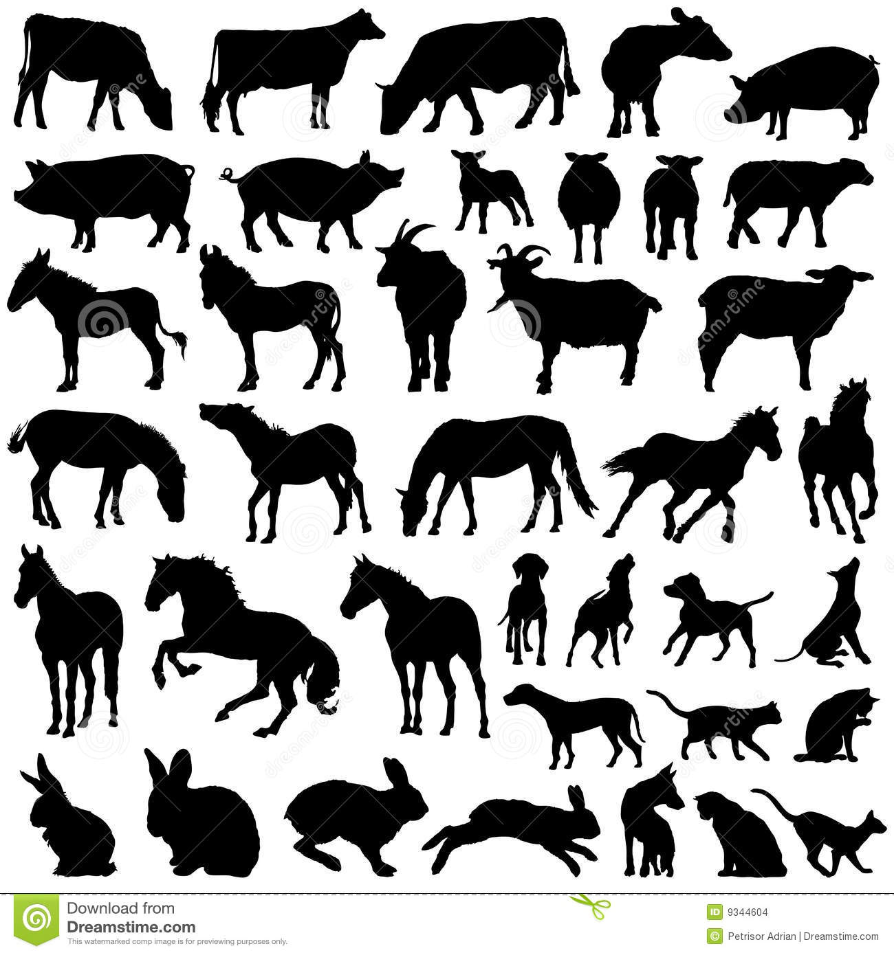 Stock Images Farm Domestic Animals Silhouette Vector Collection Image9344604 on old time farmhouse plans