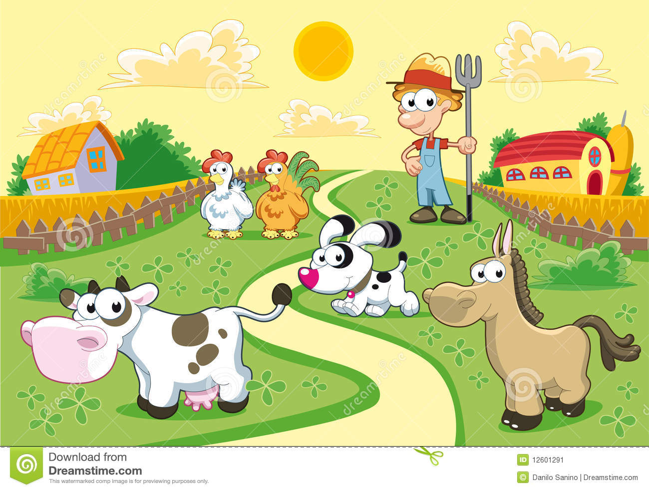 Farm Family With Background. Stock Image