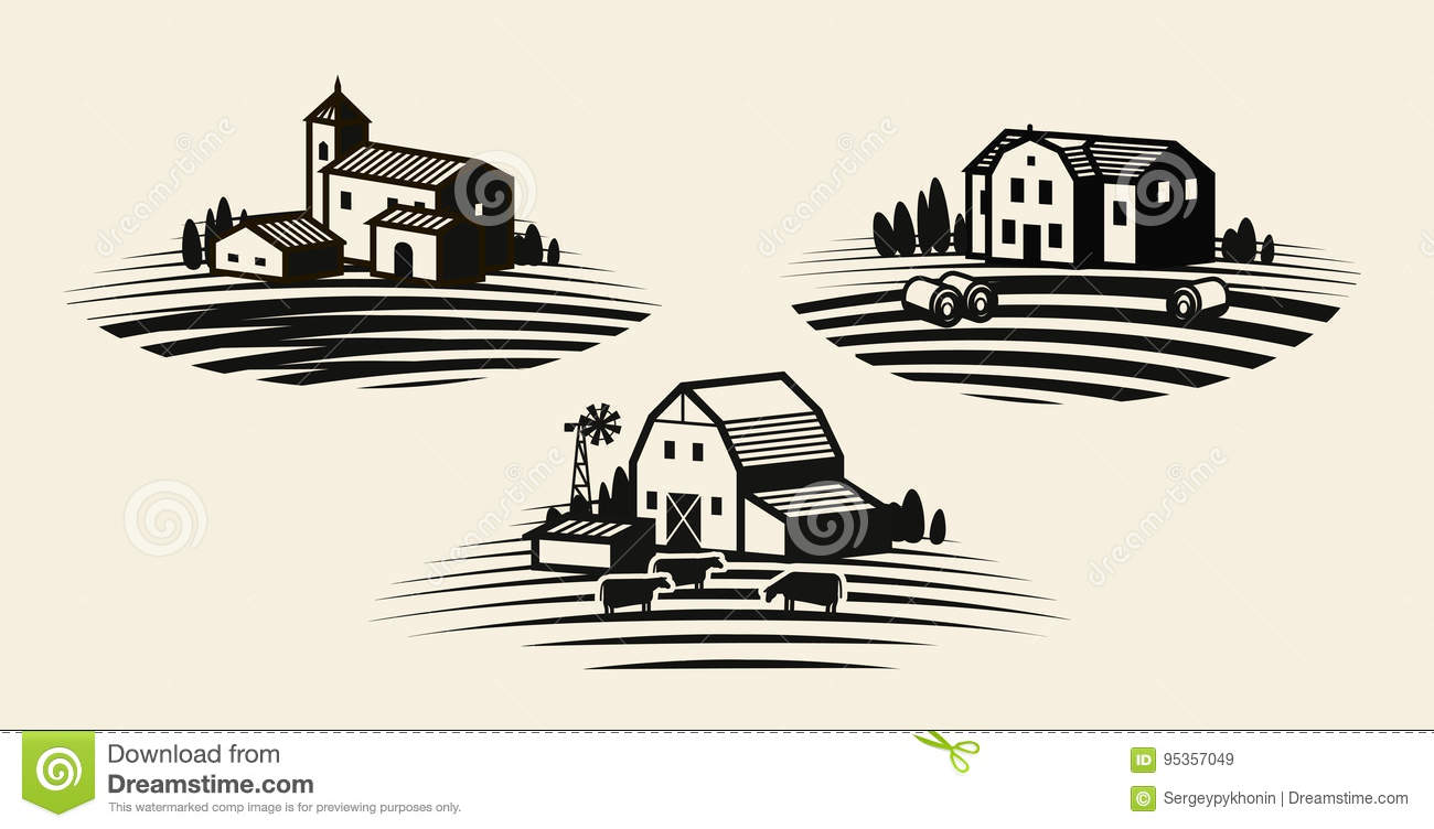 Agriculture Agribusiness Farmhouse Icon Or Logo Vector Illustration