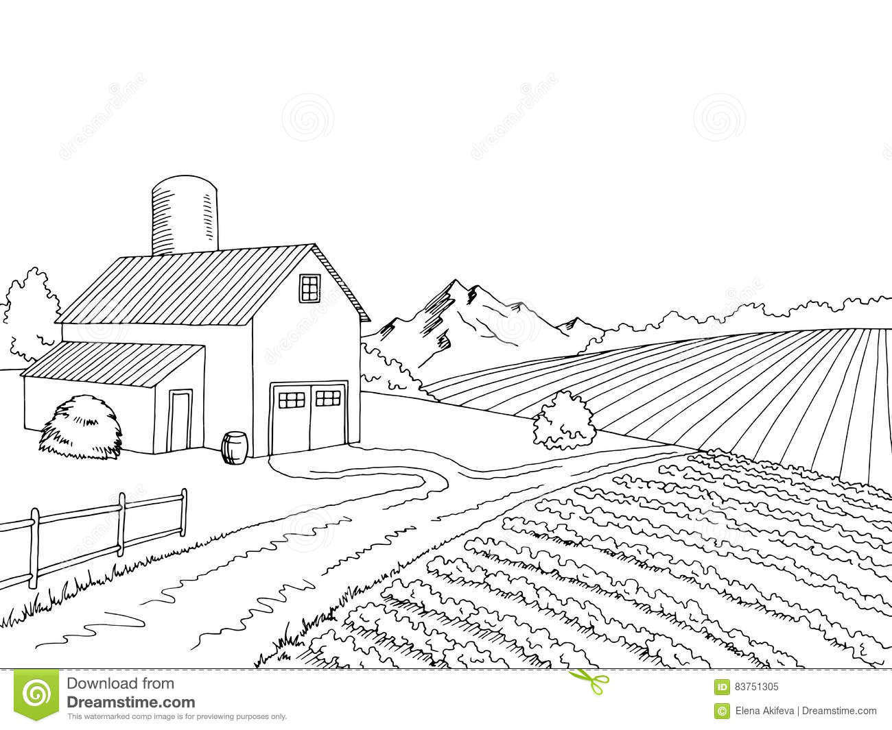 Farm Field Graphic Black White Sketch Illustration Stock Vector ... for Farm Field Sketch  303mzq