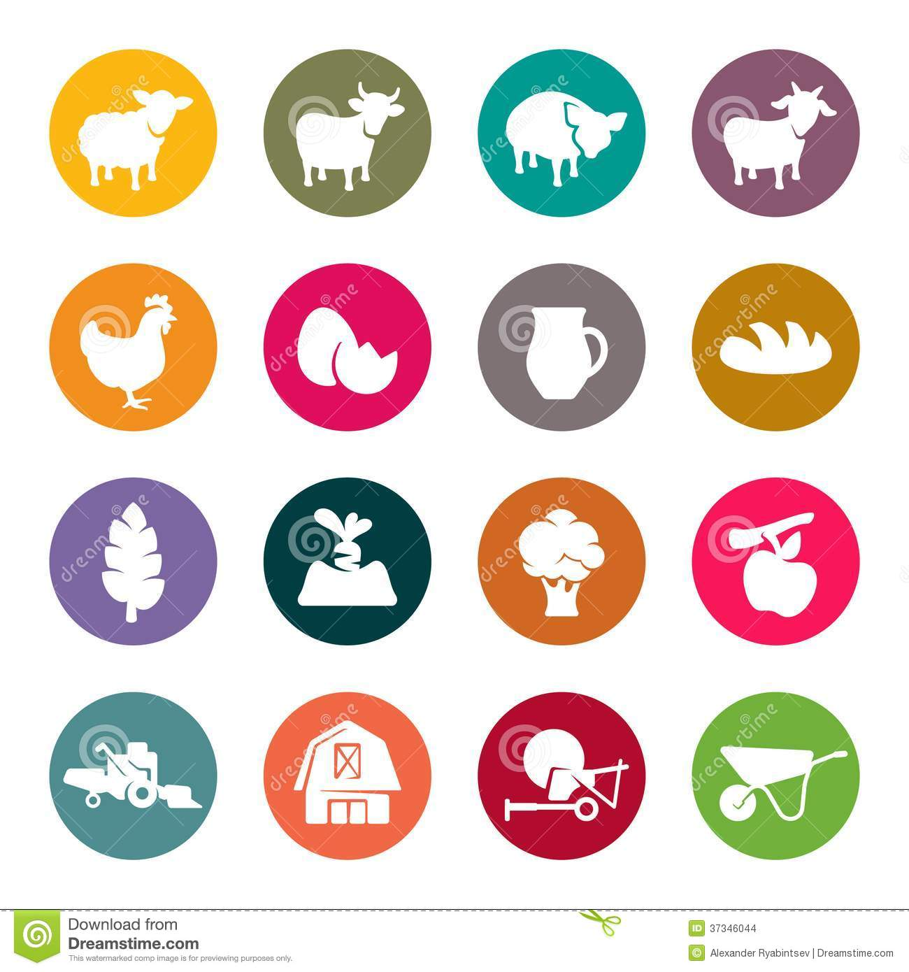 Farm Flat Icon Set Stock Images - Image: 37346044