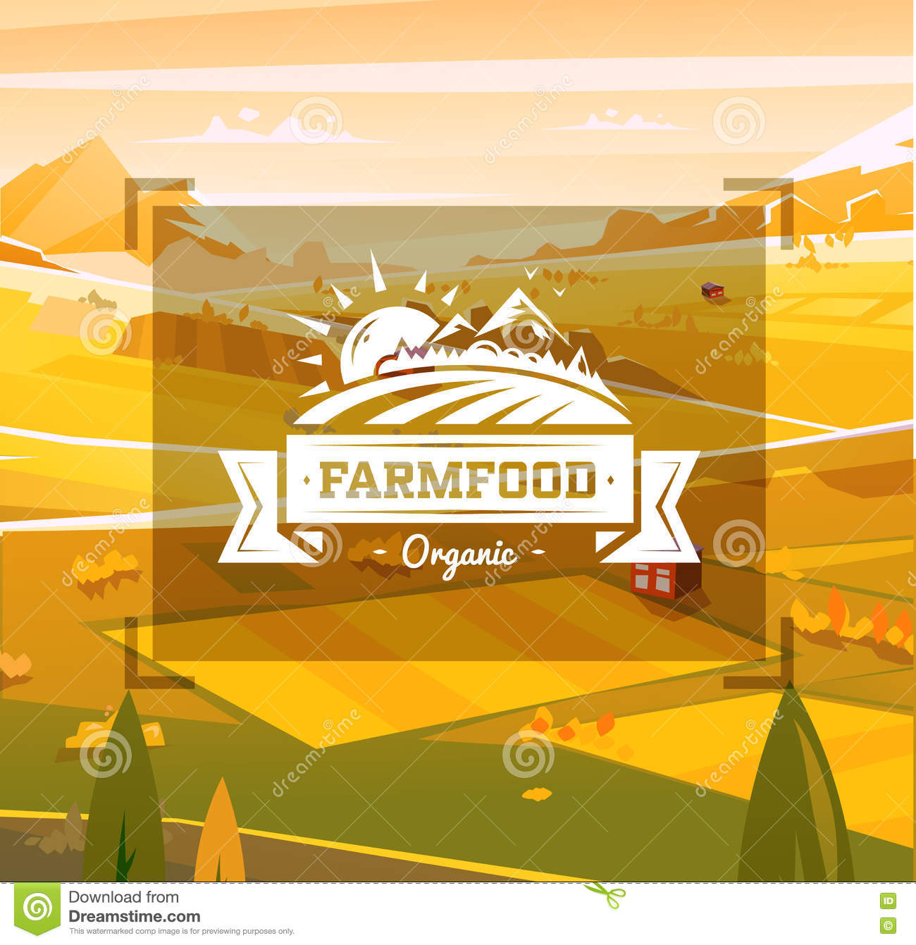Farm Food Typography Design On Vector Background Stock