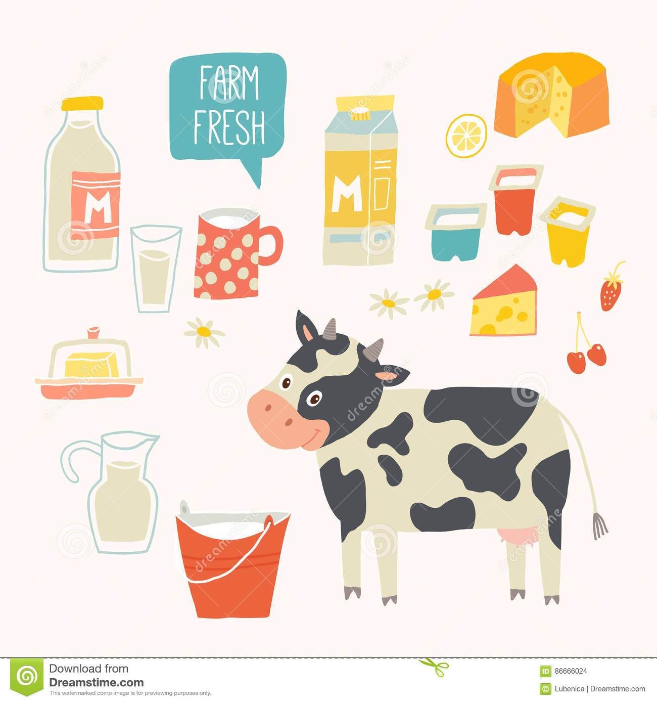 Set White Milk Vector Illustration | CartoonDealer.com ...