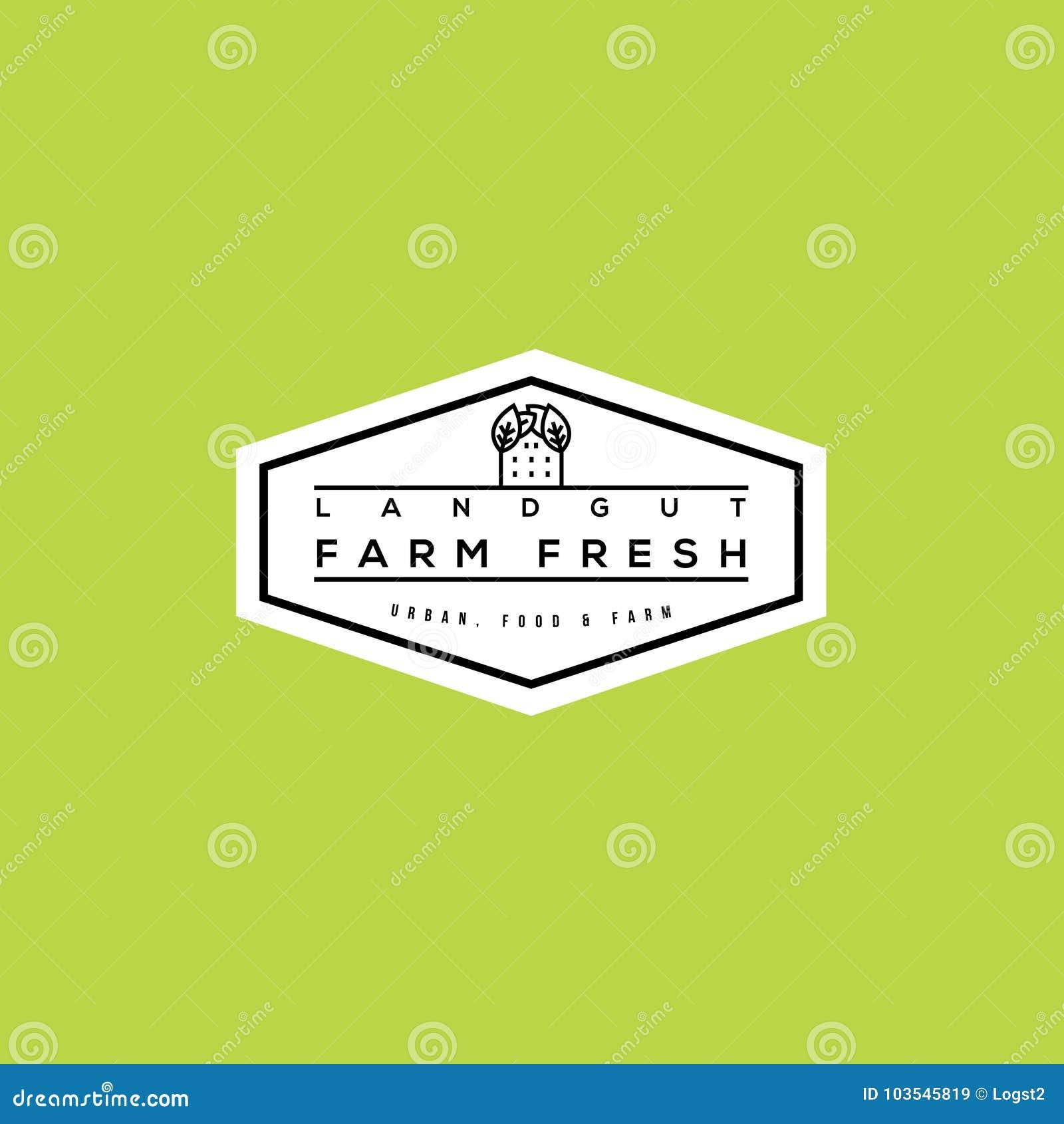 farm fresh vector logo bio food label design stock vector