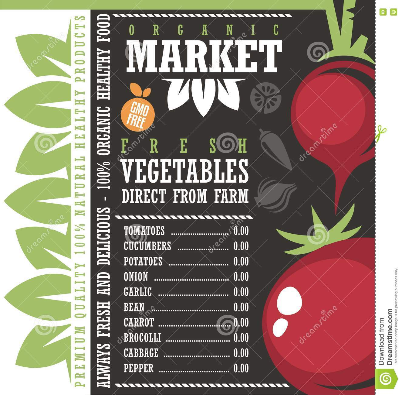 farm fresh vegetables market price list template royalty free vector - Free Price List Template
