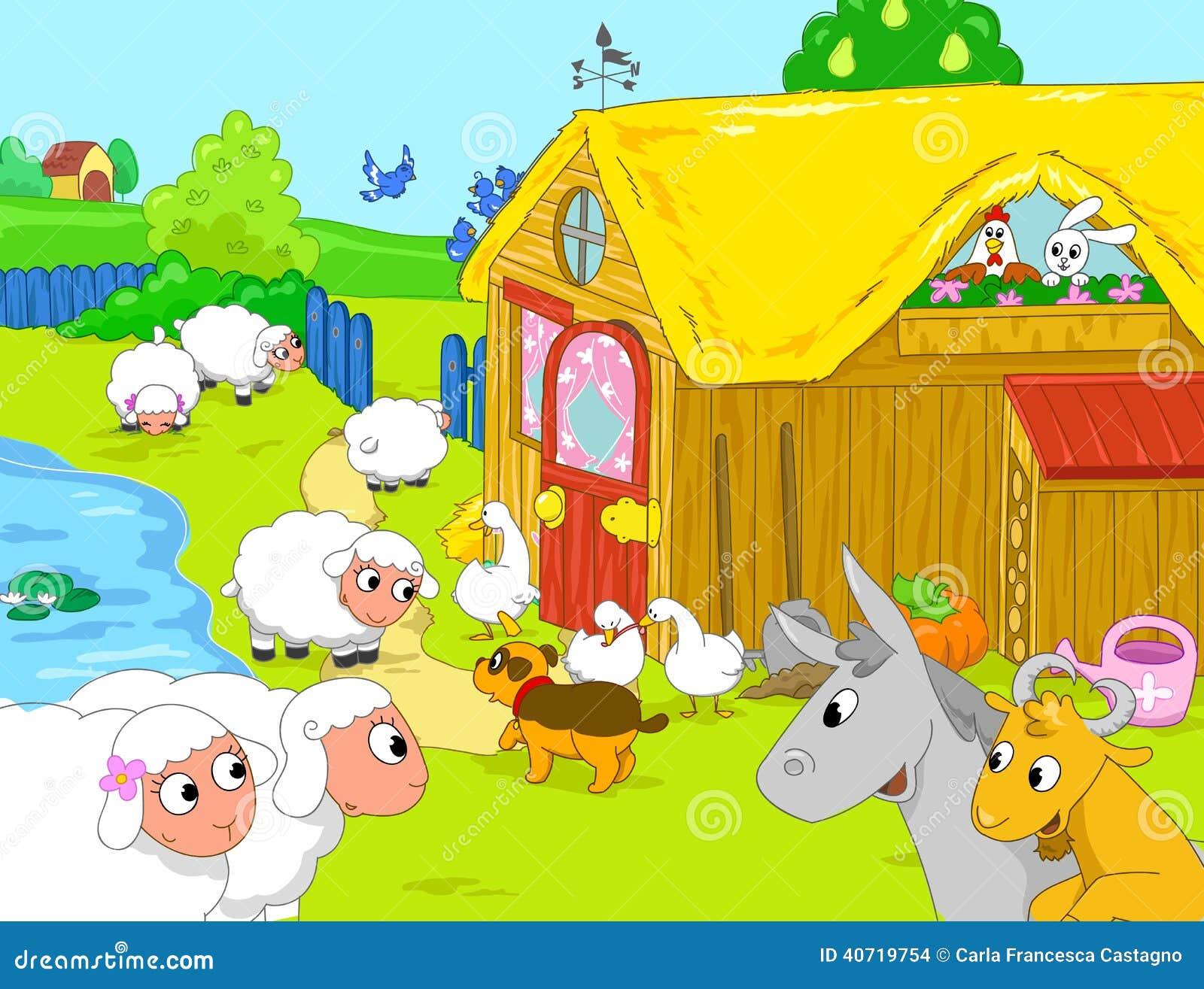 farm and funny animals near lake cartoon illustra stock
