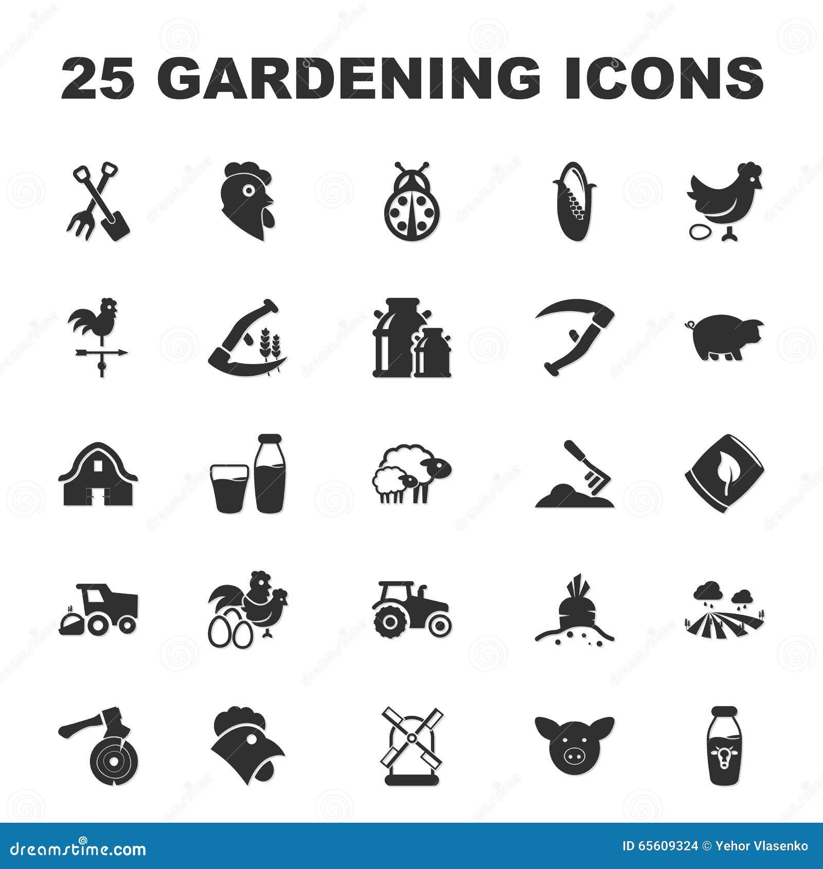 Farm Gardening 25 Black Simple Icons Set For Web Stock