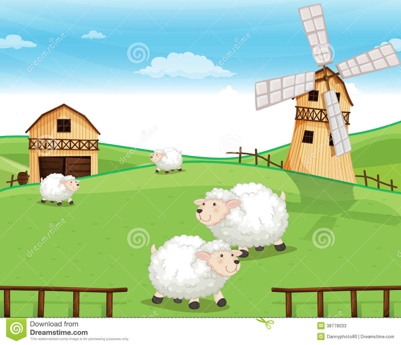 A Farm At The Hills With Sheeps Stock Vector ...