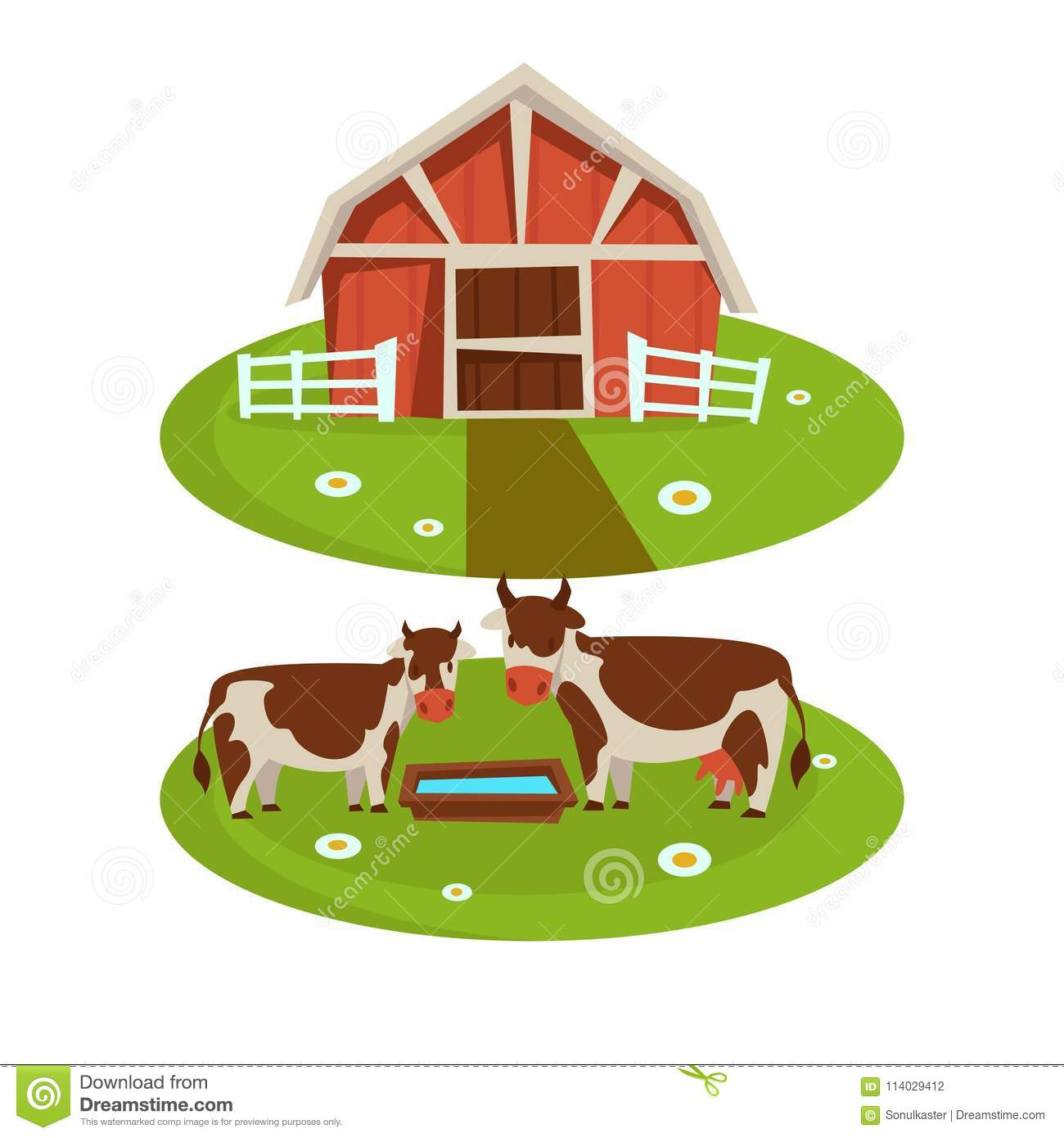Download Farm House Barn Or Farmer Agriculture And Cattle Farming Flat Cartoon Icons Stock Vector