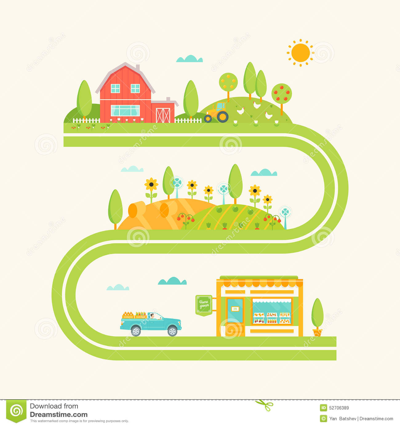 Farm House, Hills And Fields Illustrated Road Map. Agriculture Concept ...