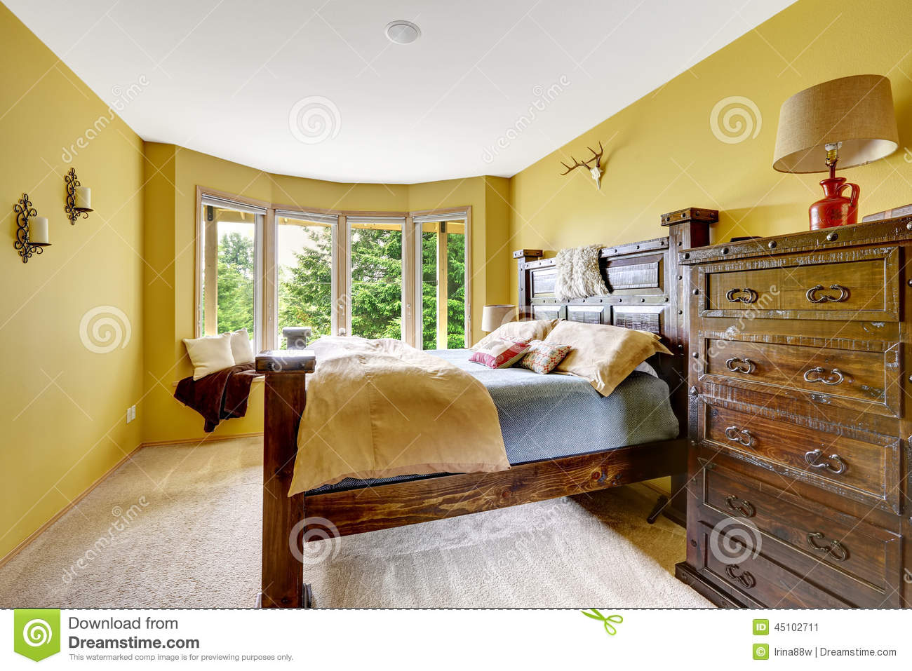 Farm House Interior Luxury Bedroom Interior With Rich Wooden