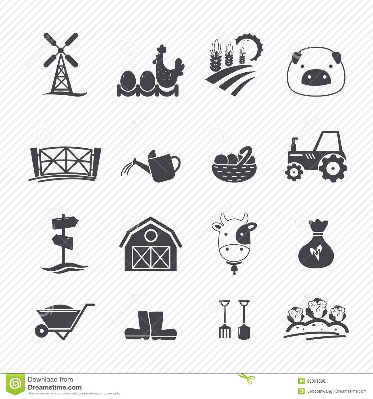 Farm Icons Stock Vector Image Of Hand Growth