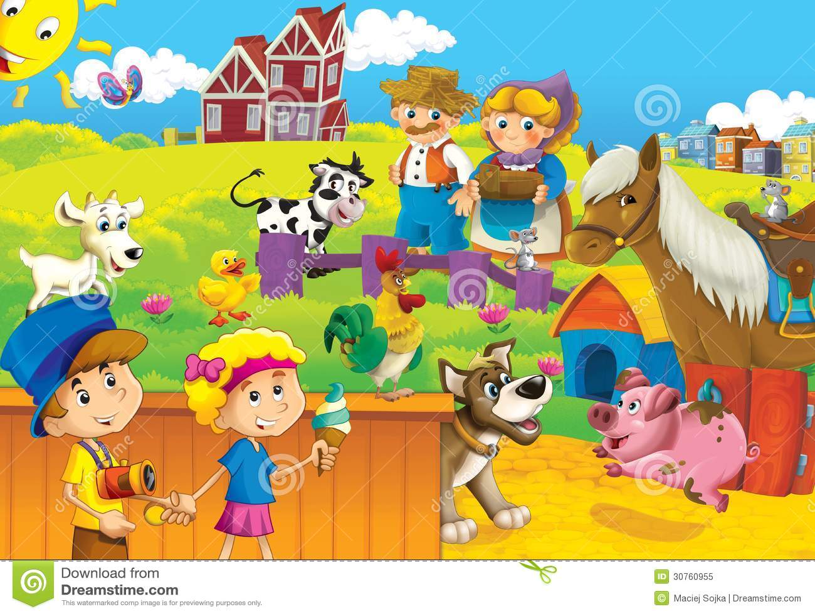 Farm Animals For Kids The Farm Illust...