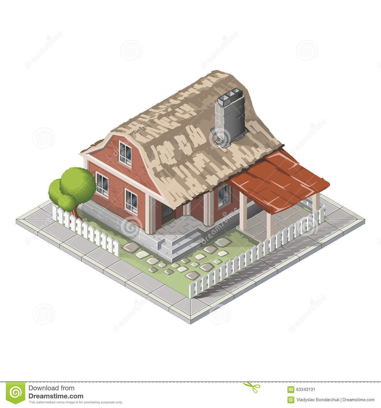 farm isometric building  farmhouse stock illustration