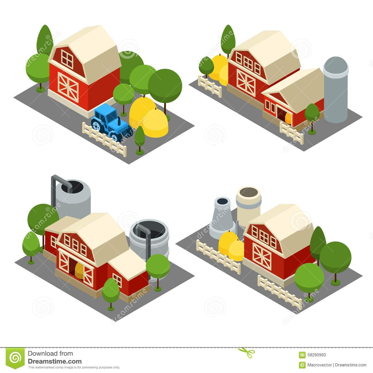 Farm Isometric Icons Set Stock Vector  Illustration Of