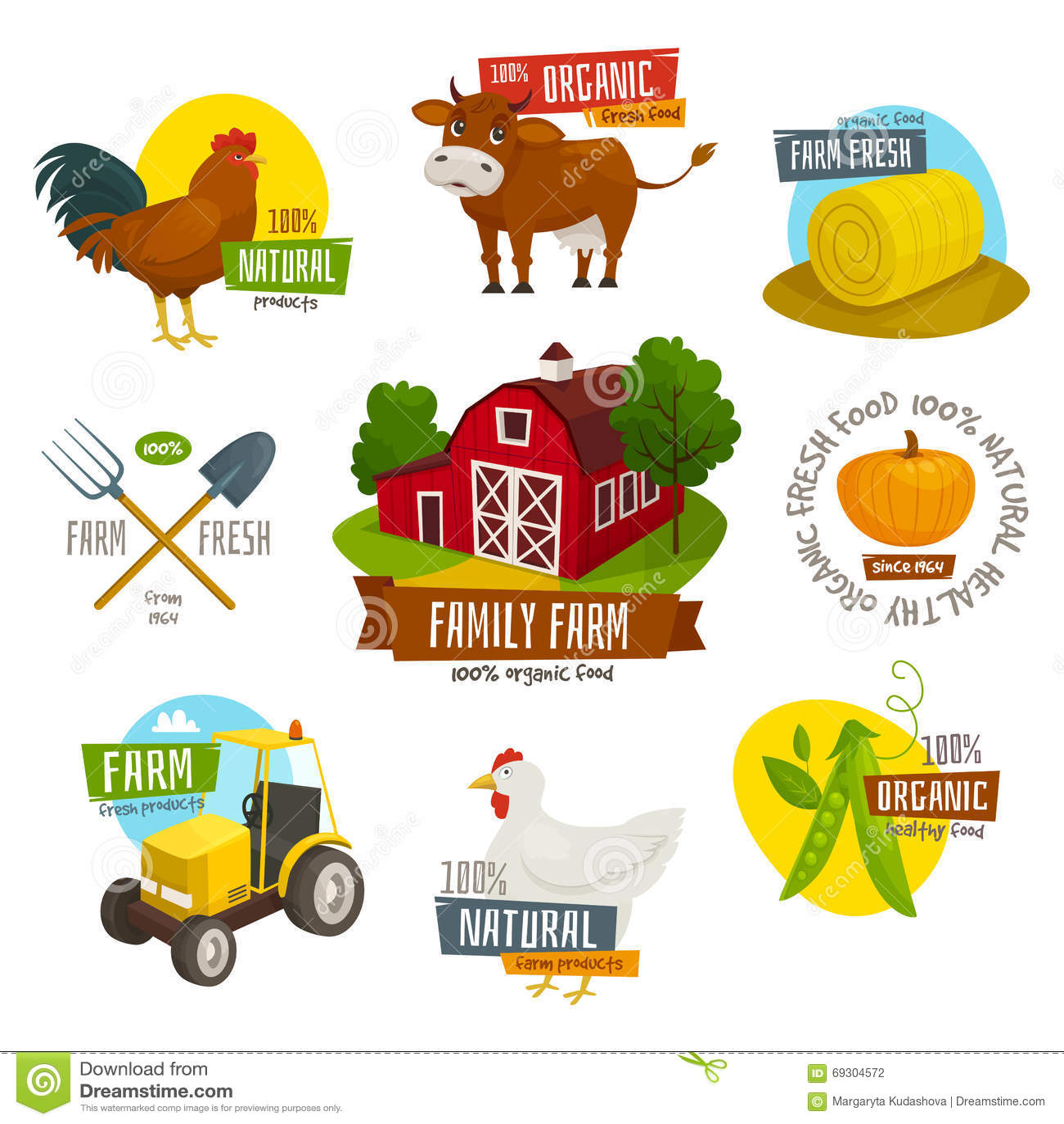 Set Of Labels For Natural Farming
