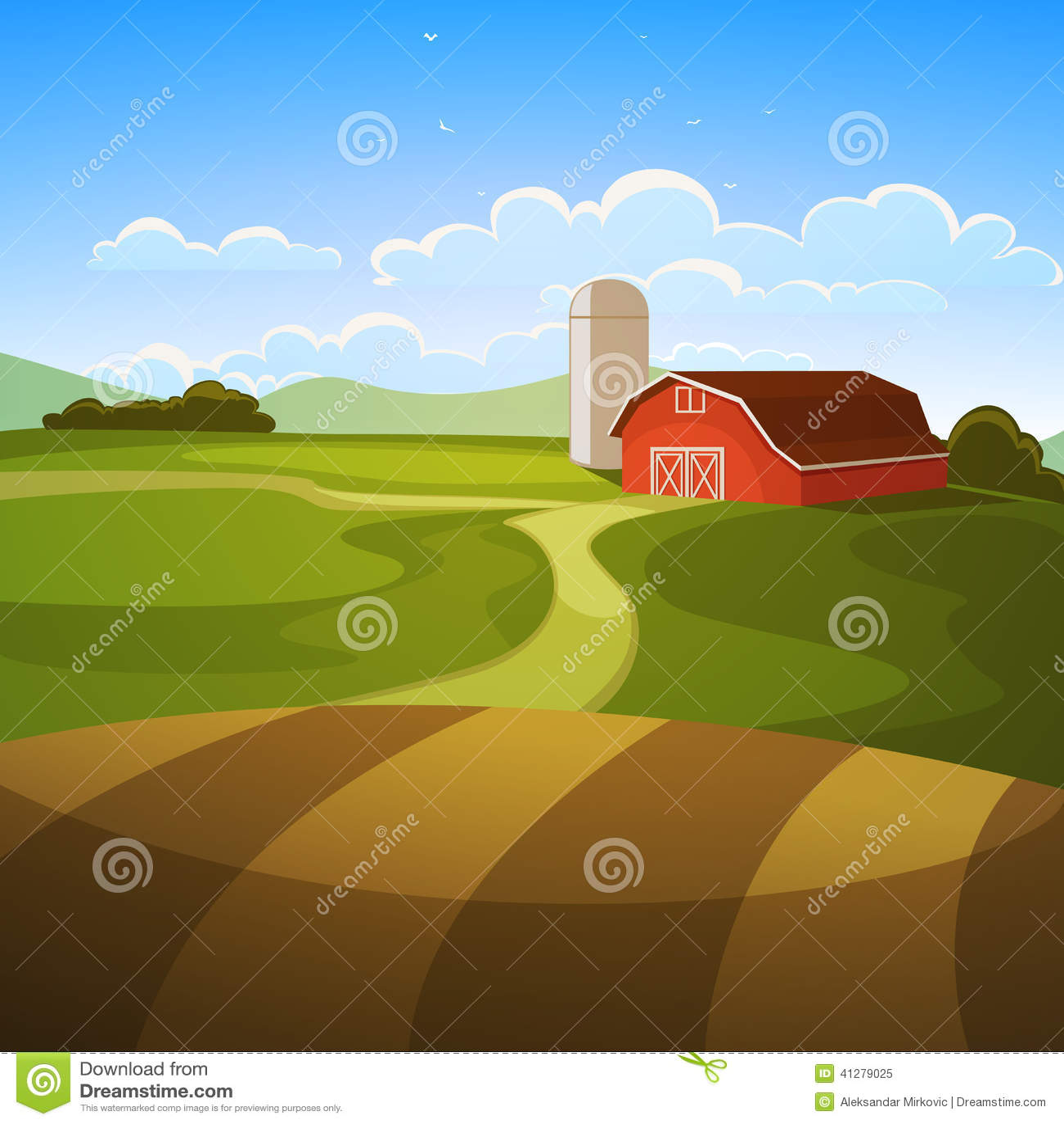 Landscape Illustration Vector Free: Farm Landscape Stock Vector