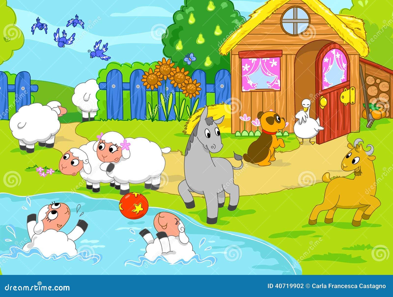 Farm And Playing Animals Digital Illustration Stock