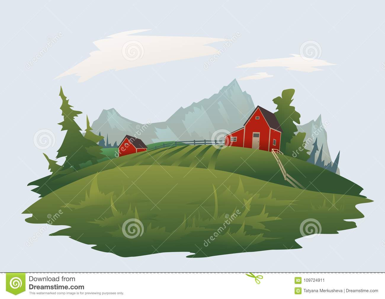 Farm or ranch in the mountain alpine landscape. Isolated vector illustration.
