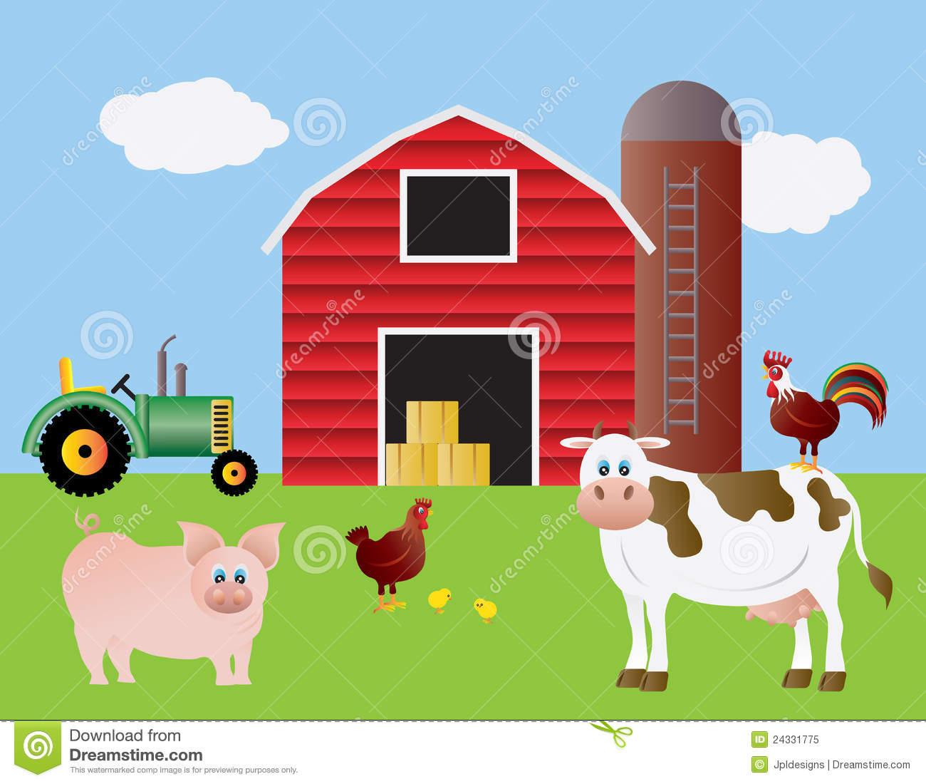 Farm Barn red barn with farm animals royalty free stock image - image: 15719576
