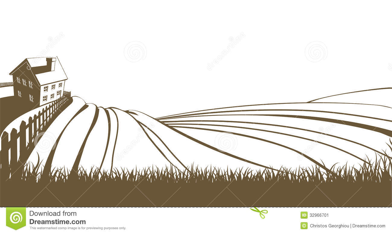 Farm and rolling hills stock vector. Illustration of ...