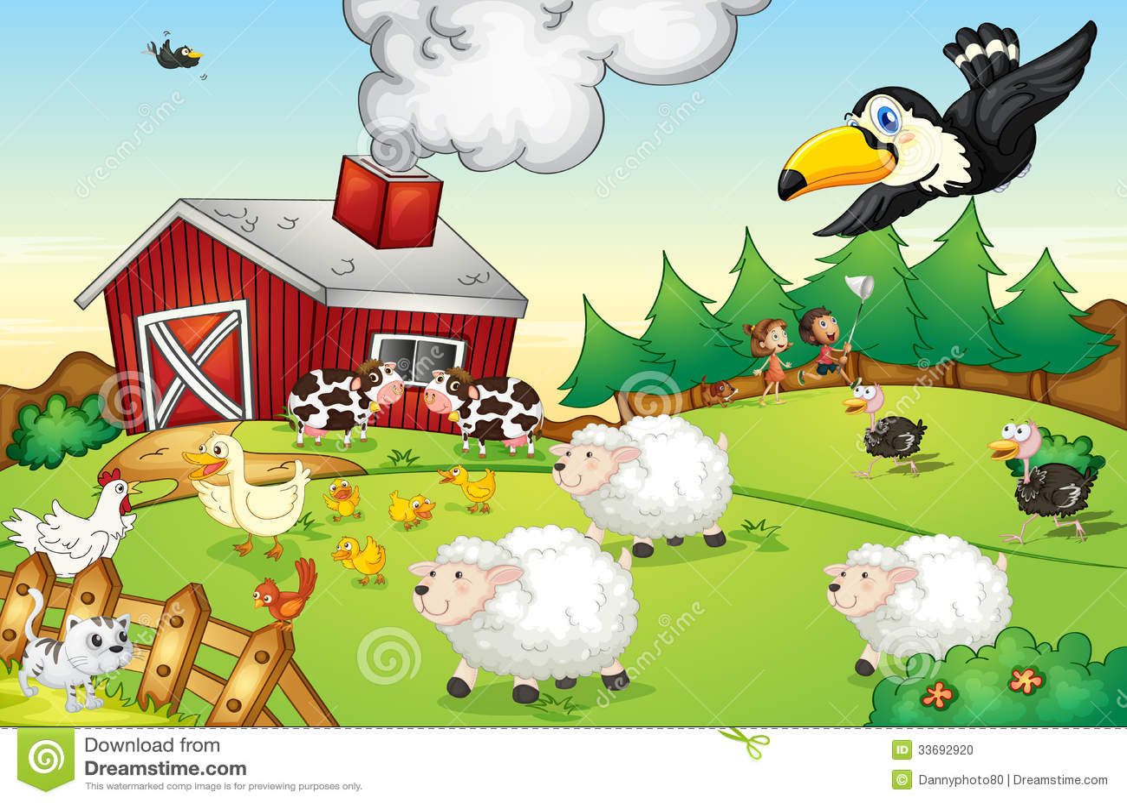 Farm Scene Stock Vector Image Of Path Duck Animals
